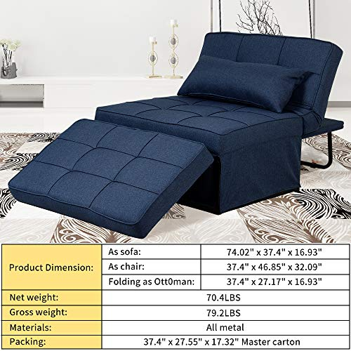 Diophros Folding Ottoman Sleeper Bed, 4 in 1 Multi-Function Adjustable Ottoman Guest Bed Bench Convertible Sofa for Living Room (Navy Blue)