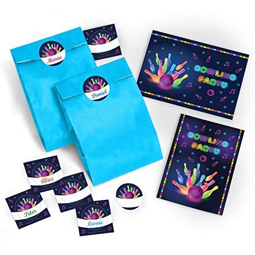 8 Einladungskarten zum Kindergeburtstag Bowling für Mädchen und Jungen / Erwachsene incl. 8 Umschläge, 8 Tüten / blau, 8 Aufkleber / Bunte Einladungen zum Geburtstag / Geburtstagseinladungen