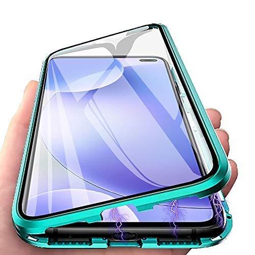 HülleLover Xiaomi Redmi 9 Hülle, Handyhülle für Xiaomi Redmi 9 Hülle Magnetic Adsorption, 360 Grad Komplettschutz Schutzhülle Clear Doppelseitige Aus Gehärtetem Glas Metall Flip Hülle Tasche, Grün