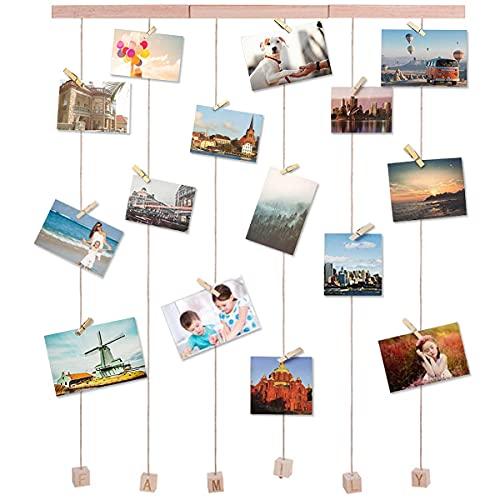 Barrageon Colgantes Marco Fotos Estantería Con 20 Pinzas Multi lmágenes Pantalla Collage DIY Portafotos Pared Dormitorio Hogar Decoración- A
