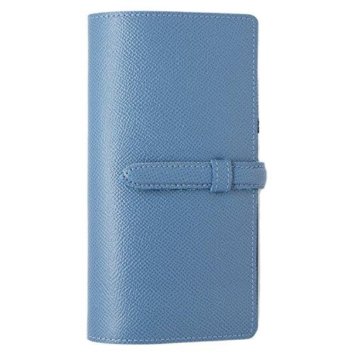 スリップオン スリムロング手帳カバー ベルト付き NC 革 ジーンブルー DNK-8501
