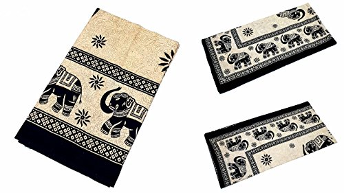 Grande Ambe Premium sábana sábana cama de ropa de cama 100% algodón 210x 230cm negro beige elefante Ornament elegante nº F