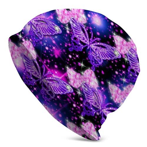 landianguangga Gorro de calavera violeta con diseño de mariposa, para adultos, mujeres y hombres, unisex