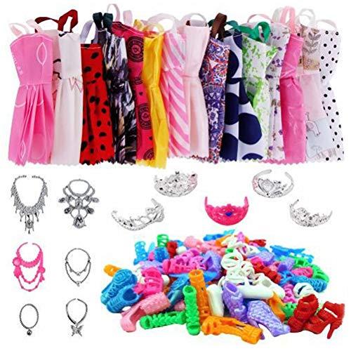 RALMALL 35 Stück Kleidungszubehör für Puppen - 12 Stück Mode Freizeitkleidung Kleider Outfits + 12 Paar Schuhe mit hohen Absätzen + 6 Halsketten + 5 Kronen für süße Puppe 11,5 Zoll Mädchenpuppe
