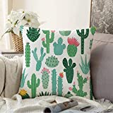 Fundas Decorativas para Cojines Funda de cojín Terrario de Plantas Naturales Tropical Doodle Bloom Floral Cactus Mexicano Aloe Set Spiny Desert Nature Funda de Almohada para sofá