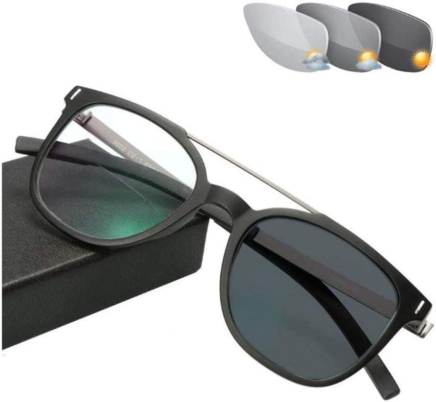 ZBYL Lunettes de lecture bifocales pour homme et femme - Lunettes de soleil photochromiques, sans vis, lentille plate transparente, anti-éblouissement, noir + 1.0 Noir