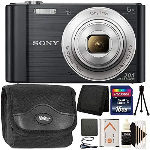 Sony CyberShot DSC-W810 20.1MP 6X Optical Zoom Digital Camera Black with 16GB Memory Card Top Accessory Bundle