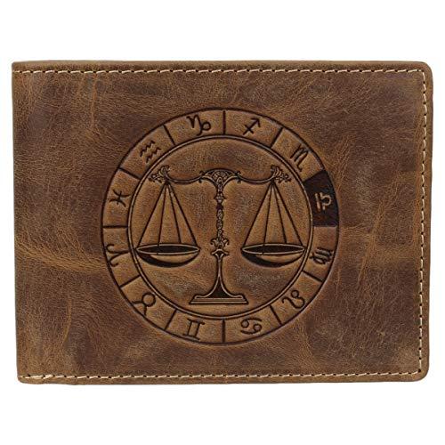 Greenburry Vintage 1705-Waage Leder Geldbeutel Geldbörse Portemonnaie mit Sternzeichenmotiv Waage