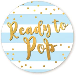 Ready to Pop Stickers | Faux Metallic Gold | Many Sizes & Colors to Choose from | Ready To Pop Baby Shower Stickers for Popcorn | Ready to Pop Stickers for a Boy or Girl (Blue, 2.0