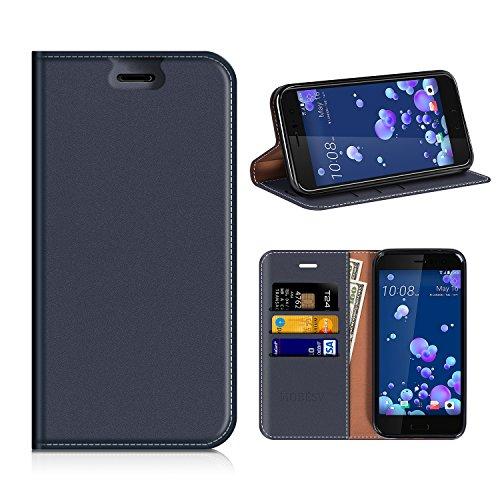 MOBESV HTC U11 Hülle Leder, HTC U11 Tasche Lederhülle/Wallet Hülle/Ledertasche Handyhülle/Schutzhülle mit Kartenfach für HTC U11 - Dunkel Blau
