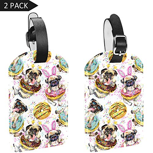 Dog and Donut Luggage Tags, Travel Bag Suitcase Name Tags, PU Leahter Luggage Tags Privacy Protection Travel Bag Labels Suitcase Tags
