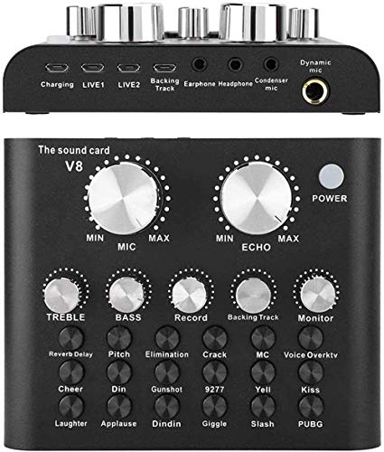 Remall Bluetooth Live Sound Card with Sound Effects, Audio Mixer Board Support Dual Phones Live Streaming, Karaoke Singing Music Recording Broadcast on Cell Phones, iPhone, PC Computers, Laptops