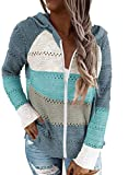 Biucly Womens Stripes Color Block Knit Sweater Zip Up Hoodies Long Sleeve Lightweight Drawstring Jacket Pullover Sweatshirts Sweaters Fall Winter,US 8-10(M),Sky Blue
