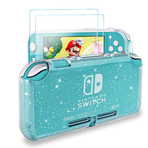 DLseego Nintendo Switch Lite Liquid Crystal Glitter Case,Soft Shockproof TPU Cover Anti-Scratch Protective Case Compatible with Nintendo Switch Lite 2019 with 2 Pack Tempered Glass Screen Protectors