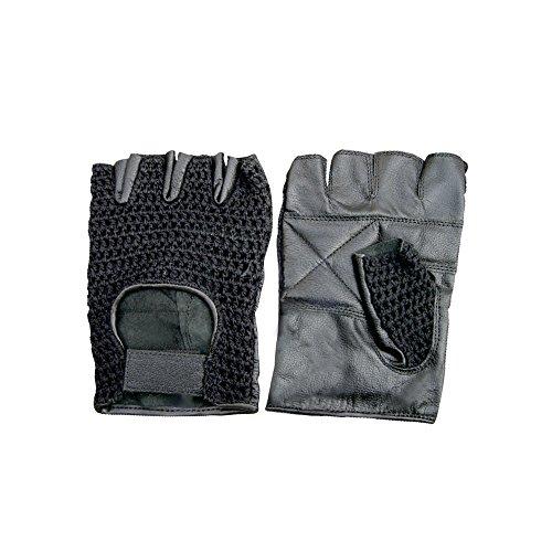 The Bikers Zone Fingerlose Handschuhe aus Leder und Netzstoff, gepolsterte Handflächen X-Small Schwarz G560-BLK