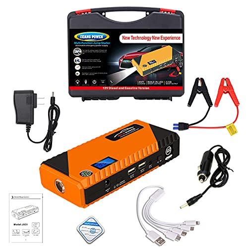 Avviatore Batteria Auto, 1200A 99800mAh Portatile Avviatore di Emergenza (per Motori Fino a 6L Benzina/5L Diesel), 12V Booster Avviamento Auto con Torcia a LED&USB Quick Charge 3.0,Yellow