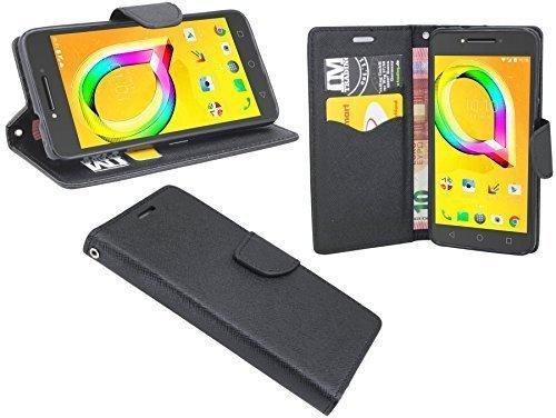 ENERGMiX Buchtasche Hülle kompatibel mit Alcatel A5 LED (5085D) Hülle Tasche Wallet BookStyle mit Standfunktion in Schwarz