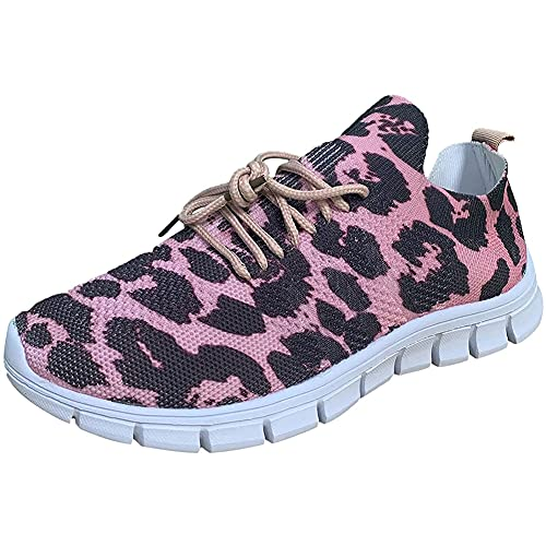 Zapatillas de Deporte de Moda para Mujer con Patrón de Palmera Zapatos para Caminar con Cordones Anchos Transpirables Ligeros para Correr Zapatillas Deportivas (Size:43 EU)
