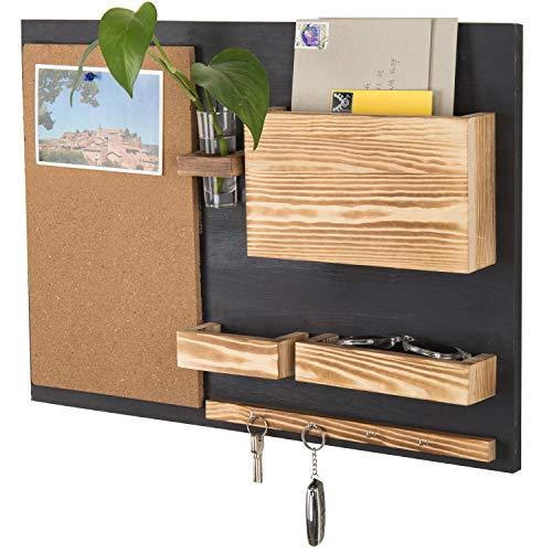 MyGift Wand-Organizer mit Kork-Pinnwand, Briefhalter, Schlüsselhaken, Blumenvase Country Rustic Medium schwarz