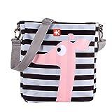 Kiwisac Happy Trip Bolso para Carro de Bebé Universal con Diseño Estampado a Rayas con una Jirafa Rosa Bolso Organizador, Bandolera Ajustable y Cintas de Sujeción 36x11x32 cm