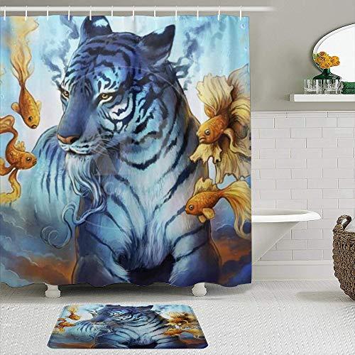 TARTINY Juego de Cortina de Ducha de2piezas con alfombras antideslizantesCortina de la Ducha,Acuarela Artistic Tiger Goldfish Hippie Art con 12 Ganchos