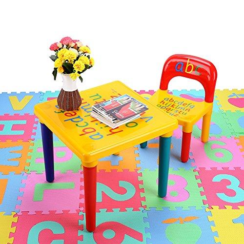 EBTOOLS Juego de Mesa y Silla para Niños, Mesa de Actividades Mesa de Estudio Infantil con Abecedario para Jardín de Infantes,Dormitorio, Sala de Estar