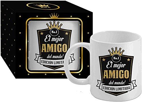 Taza Cerámica para Desayuno en Color Blanco de 300 ml, Un Regalo Original para Familia y Amigos - El mejor AMIGO del mundo!