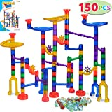 JOYIN 150 Pcs Marble Run Premium Set, Construction Building Blocks Toys, STEM Learning Toy, Educational Building Block Toy(100 Translucent Plastic Pieces + 50 Glass Marbles)
