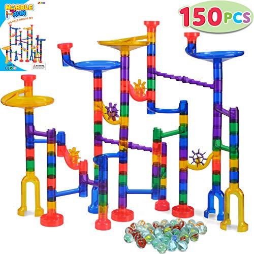 JOYIN 150 Stück Mehrfarbige Murmelbahn Marble Run Set mit 100 Bahnelementen und 50 Glasmurmeln, Kugelbahn Lernspielzeug, Bausteinspielzeug, Konstruktionspielzeug für Kinder