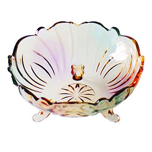 Cristal de vidrio Frutero Creativo Moderno Salón Hogar Mesa de Centro Cesta 24.5 × 24.5 × 11cm