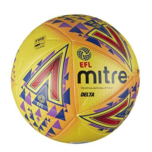 Mitre, Pallone da Calcio Professionale Delta PRO della English Football League, Unisex, EFL Delta PRO, Yellow, Taglia 5