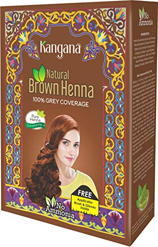 Kangana 100% Pure & Natural Henna Powder for Hair Dye - Natural Brown Henna Powder for Grey Hair Coverage - 6 Pouches Inside- Total 60g (2.11 Oz)