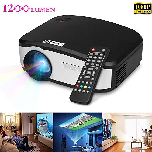 LightInTheBox 1200 Lumens Ultra Throw Rate HD 1080P Home Media Projector Portable Cinema with HDMI Input, USB, VGA Port, 3-in-1 AV in
