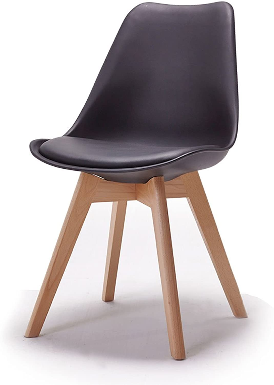 JCRNJSB? leisure chair Creative dining chair Modern minimalist Solid wood plastic Cafe Negotiate chair Removable round Short leg sofa stool Wooden benc (color   Black)