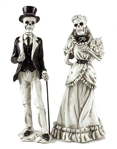 Bride & Groom Skeletons Resin Halloween Figurines - Set of 2