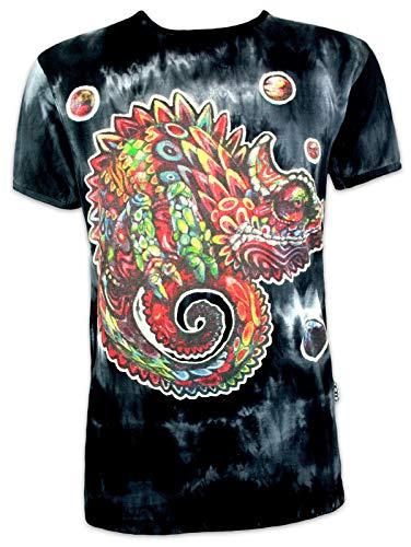 Sure Herren T-Shirt - Trippy Chamäleon Psychedelische Kunst Moderne Reptilien Gekko Graffiti Aborigines Tribal Ärmelfrei Männer Freizeit Kurzarm (Schwarz L)