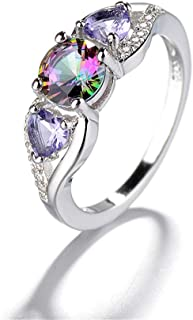 Heart Shaped Rainbow Colorful Dazzling Cubic Zirconia CZ Halo Promise Engagement Statement Ring Double Heart Shiny Dainty ...