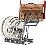 """9+ Lids - BetterThingsHome Expandable Lid Holder: Total 10 Adjustable Compartments, Stores 9+ Lids, Can Be Extended to 22.25"""", Kitchen Cookware Pan Pot Lid Organizer Rack - Brand New Updated"""