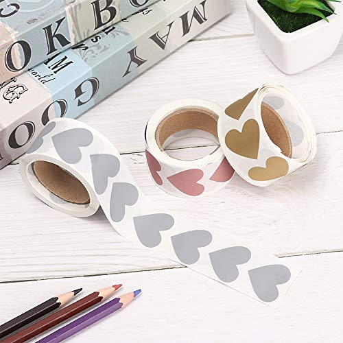 300 PCs Silver/Gold/Rose Gold Love Heart Shape Scratch Off Stickers Adhesive Paper Labels for Home Game Secret Code Cover