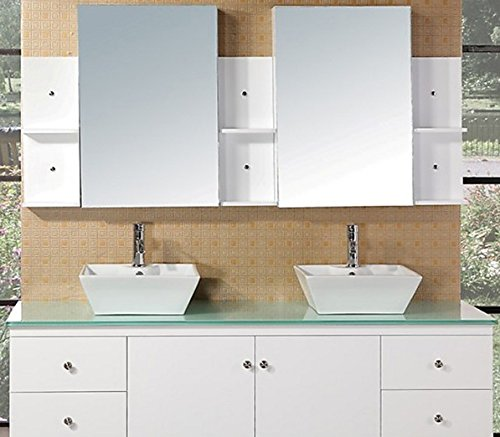 Design Element Portland Wall-Mount Double Vessel Square Ceramic Sink Vanity Set with Tempered Glass Countertop and White Finish, 72-Inch