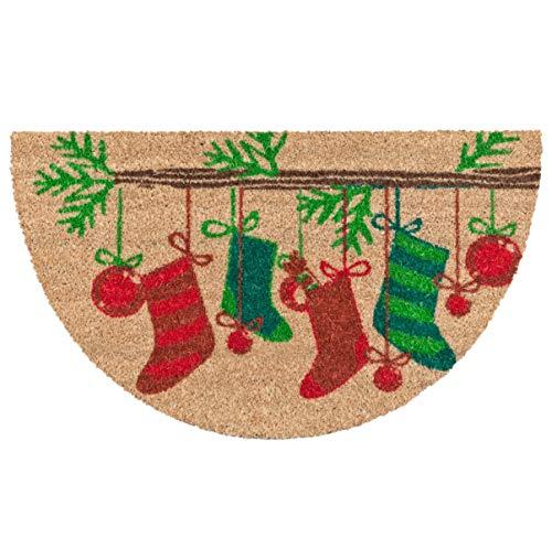 emmevi Felpudo de coco navideño Semiluna de 40 x 70 cm, antideslizante, alfombra de entrada, modelo Coco Navidad Semiluna (D)