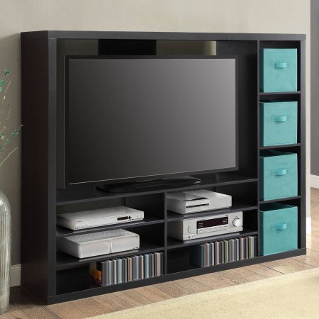 """Mainstay Entertainment Center for TVs up to 55"""" (Storage Cubes are not Included) (Black, 55"""")"""