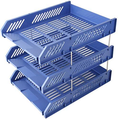 HAIMENG Organizer Basketball Office-Datei-Ordner Datei-Box 3 Ordner Ordner Informationen Mehrschichtige Datei Halter (Color : Blue, Size : 33.8x25.8x26cm)
