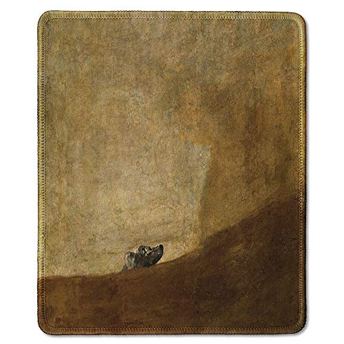 dealzEpic - Art Mousepad - Natural Rubber Mouse Pad with Famous Fine Art Painting of The Dog by Francisco Goya - Stitched Edges - 9.5x7.9 inches