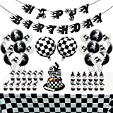 OSNIE Motorcycle Birthday Party Decorations Supplies Kit - Checkered Racing Foil Latex Balloons, Pre-Strung Banner, Cake Toppers, Table Cover, Super Motocross Themed Party Supplies for Boy's Birthday