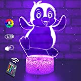 Penguin Lights Penguin Gifts Night Light 3D Illusion Lamp Bedroom Dimmable Birthday Christmas Gifts for Kids Girls Boys with Remote & Smart Touch RGB 16 Colors Changing 4 Modes Flashing