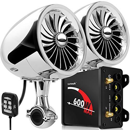 GoHawk TJ4 2.1 Channel Amplifier 4' Full Range Waterproof Bluetooth Motorcycle Stereo Speakers Audio System AUX FM Radio for 1 to 1-1/4 in. Handlebar Harley Yamaha Can-Am ATV UTV RZR Polaris
