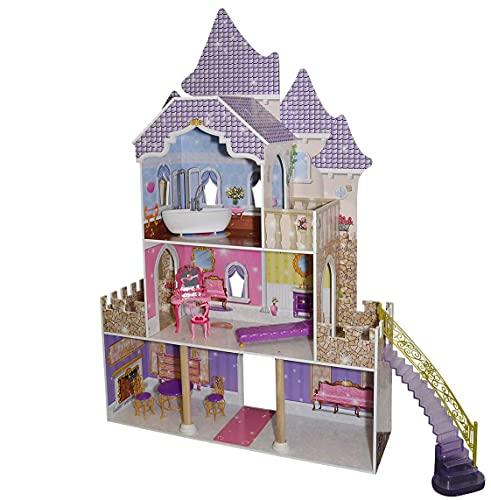 Eichhorn Großes Puppenschloss, Puppenhaus passend für 29 cm Puppen, inklusive Möbel, Unmontiert, ohne Puppe, geeignet für Kinder ab 3 Jahren, 27,5 x 97 x 146 cm