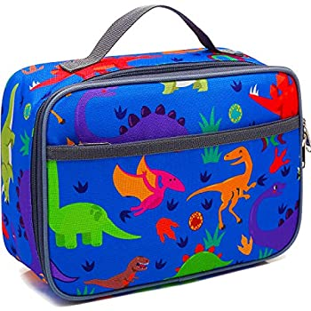 Kids Lunch box Insulated Soft Bag Mini Cooler Back to School Thermal Meal Tote Kit for Boys,Girls,Women,Men by FlowFly,Dinosaur