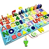 Rompecabezas de madera con números magnéticos, juguetes apilables para clasificación, juguetes Montessori de madera para niños pequeños, juguetes de rompecabezas de madera, juego de pesca